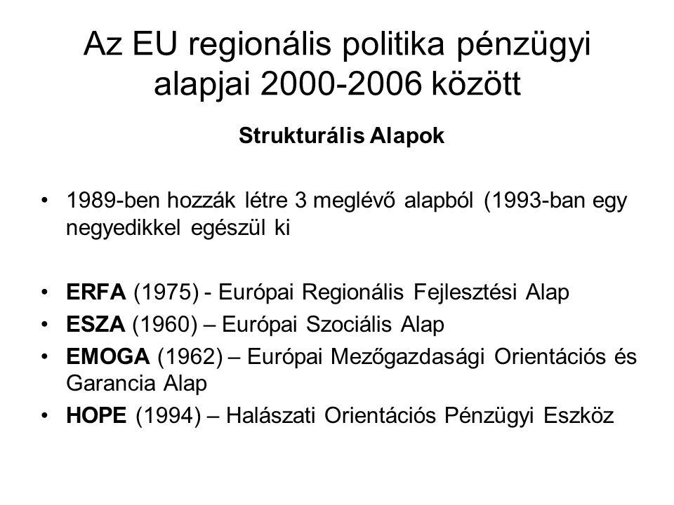 Az EU regionális politika pénzügyi alapjai 2000-2006 között Strukturális Alapok 1989-ben hozzák létre 3 meglévő alapból (1993-ban egy negyedikkel egés