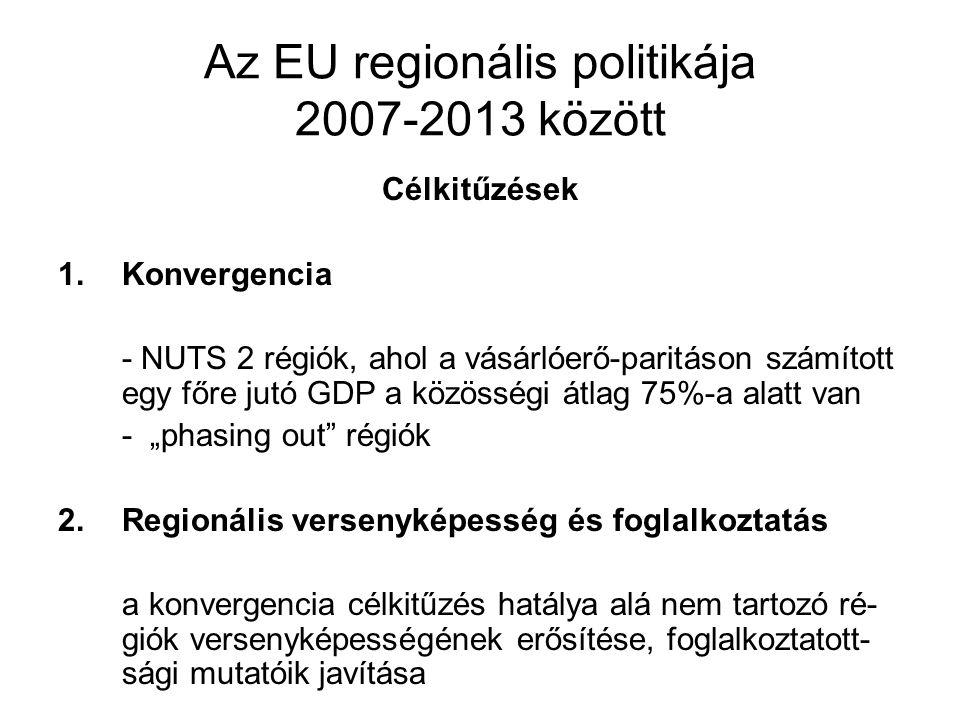 Az EU regionális politikája 2007-2013 között Célkitűzések 1.Konvergencia - NUTS 2 régiók, ahol a vásárlóerő-paritáson számított egy főre jutó GDP a kö