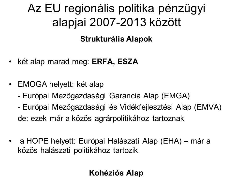 Az EU regionális politika pénzügyi alapjai 2007-2013 között Strukturális Alapok két alap marad meg: ERFA, ESZA EMOGA helyett: két alap - Európai Mezőg