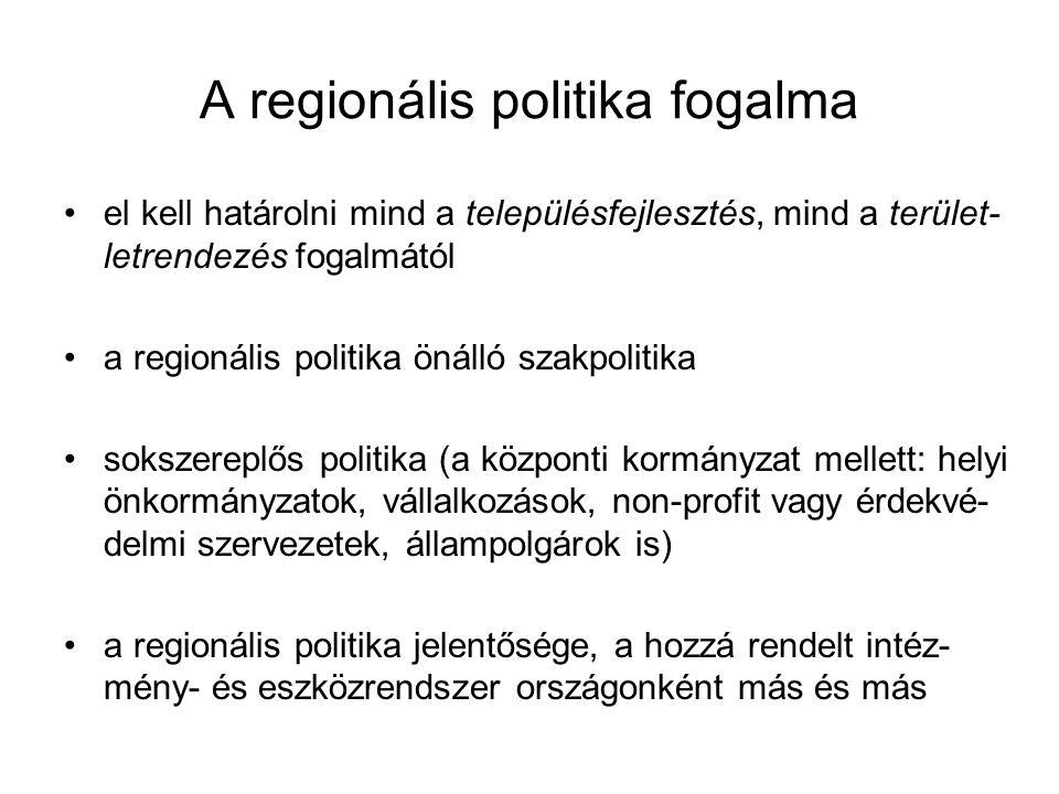 A regionális politika fogalma el kell határolni mind a településfejlesztés, mind a terület- letrendezés fogalmától a regionális politika önálló szakpo