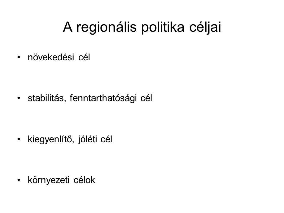 A regionális politika céljai növekedési cél stabilitás, fenntarthatósági cél kiegyenlítő, jóléti cél környezeti célok