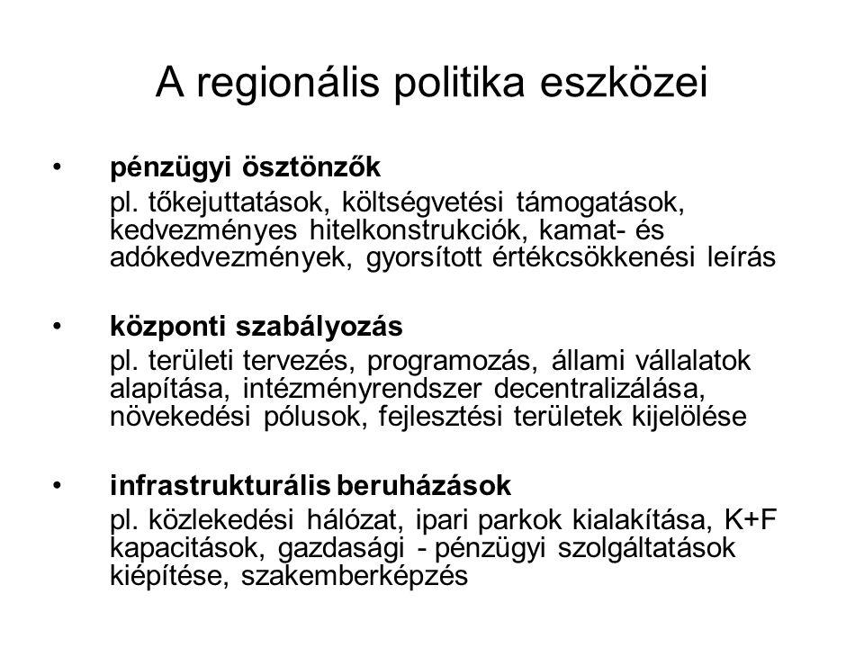 A regionális politika eszközei pénzügyi ösztönzők pl. tőkejuttatások, költségvetési támogatások, kedvezményes hitelkonstrukciók, kamat- és adókedvezmé
