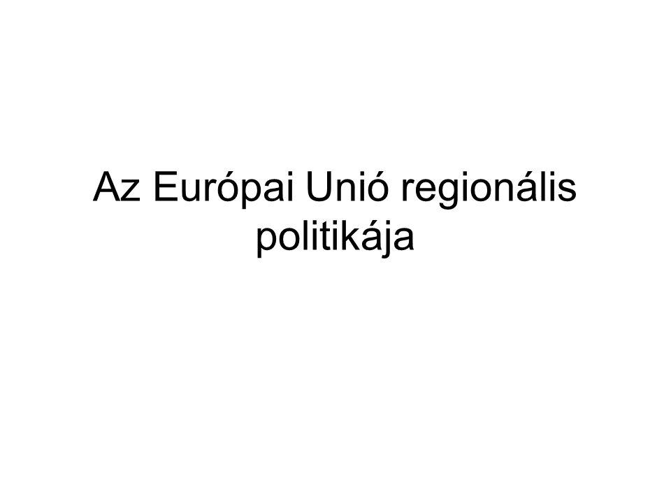 Az európai regionális politika története 1957, Római Szerződés: a közösségi szintű regionális politika kialakítását még nem tartalmazta a 60-as évek vége: elindul a tagállamok regionális politi- káinak összehangolása 1972, az Európa Tanács párizsi csúcsértekezlete: a tag- államok döntenek a közös regionális politika létrehozásá- ról az újabb bővítések (1973, 1981, 1986) tovább növelik a közös regionális politika kialakításának szükségességét