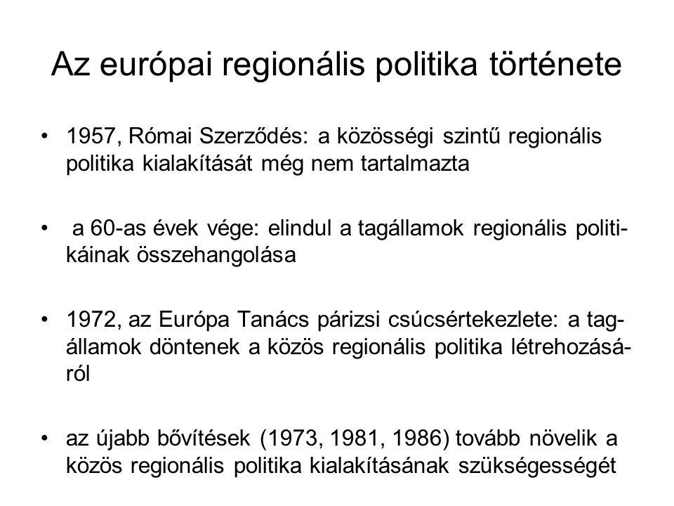 Az európai regionális politika története 1987, Egységes Európai Okmány: hivatalosan is közös- ségi szintre emeli a regionális politikát 1988: a regionális politika átfogó reformja (pl.: NUTS- rendszer bevezetése) 1989: a Strukturális Alapok létrehozása 1993: Maastrichti Szerződés – a Kohéziós Alap létreho- zása 1997: Agenda 2000 – a regionális politika újabb reformja a keleti bővítés tükrében 2004, 2007: az EU keleti bővítése