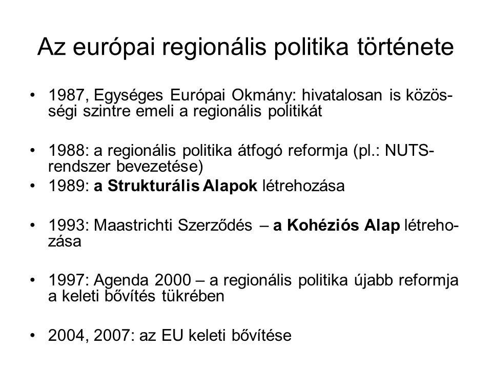 Az európai regionális politika története 1987, Egységes Európai Okmány: hivatalosan is közös- ségi szintre emeli a regionális politikát 1988: a region