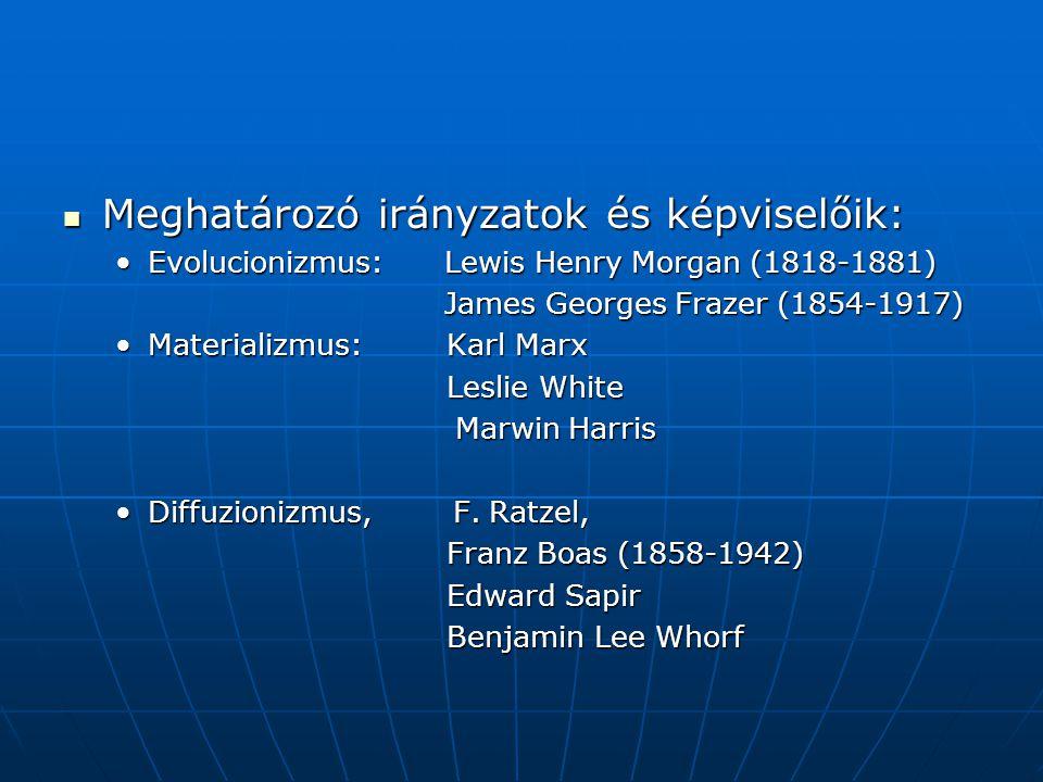 Meghatározó irányzatok és képviselőik: Meghatározó irányzatok és képviselőik: Evolucionizmus: Lewis Henry Morgan (1818-1881)Evolucionizmus: Lewis Henr
