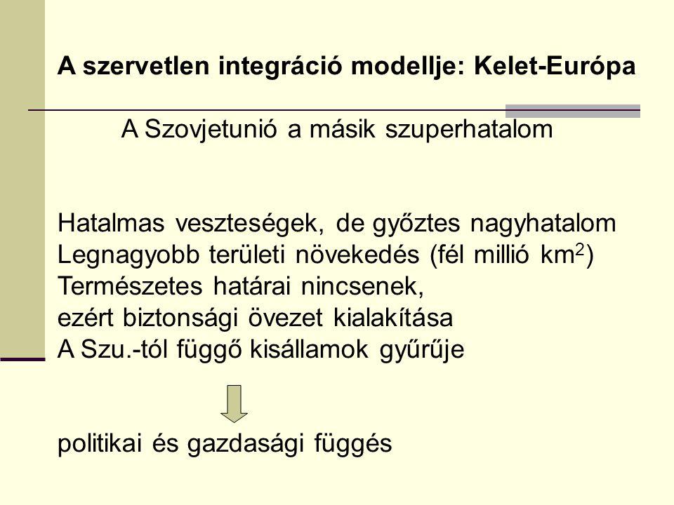 A szervetlen integráció modellje: Kelet-Európa A Szovjetunió a másik szuperhatalom Hatalmas veszteségek, de győztes nagyhatalom Legnagyobb területi növekedés (fél millió km 2 ) Természetes határai nincsenek, ezért biztonsági övezet kialakítása A Szu.-tól függő kisállamok gyűrűje politikai és gazdasági függés