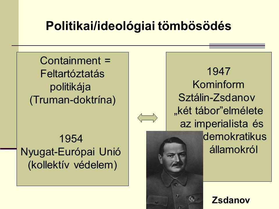 """Politikai/ideológiai tömbösödés Containment = Feltartóztatás politikája (Truman-doktrína) 1954 Nyugat-Európai Unió (kollektív védelem) 1947 Kominform Sztálin-Zsdanov """"két tábor elmélete az imperialista és és demokratikus államokról Zsdanov"""