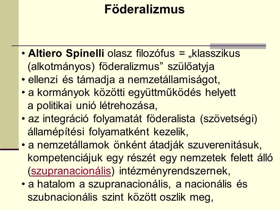 """Föderalizmus Altiero Spinelli olasz filozófus = """"klasszikus (alkotmányos) föderalizmus szülőatyja ellenzi és támadja a nemzetállamiságot, a kormányok közötti együttműködés helyett a politikai unió létrehozása, az integráció folyamatát föderalista (szövetségi) államépítési folyamatként kezelik, a nemzetállamok önként átadják szuverenitásuk, kompetenciájuk egy részét egy nemzetek felett álló (szupranacionális) intézményrendszernek,szupranacionális a hatalom a szupranacionális, a nacionális és szubnacionális szint között oszlik meg,"""