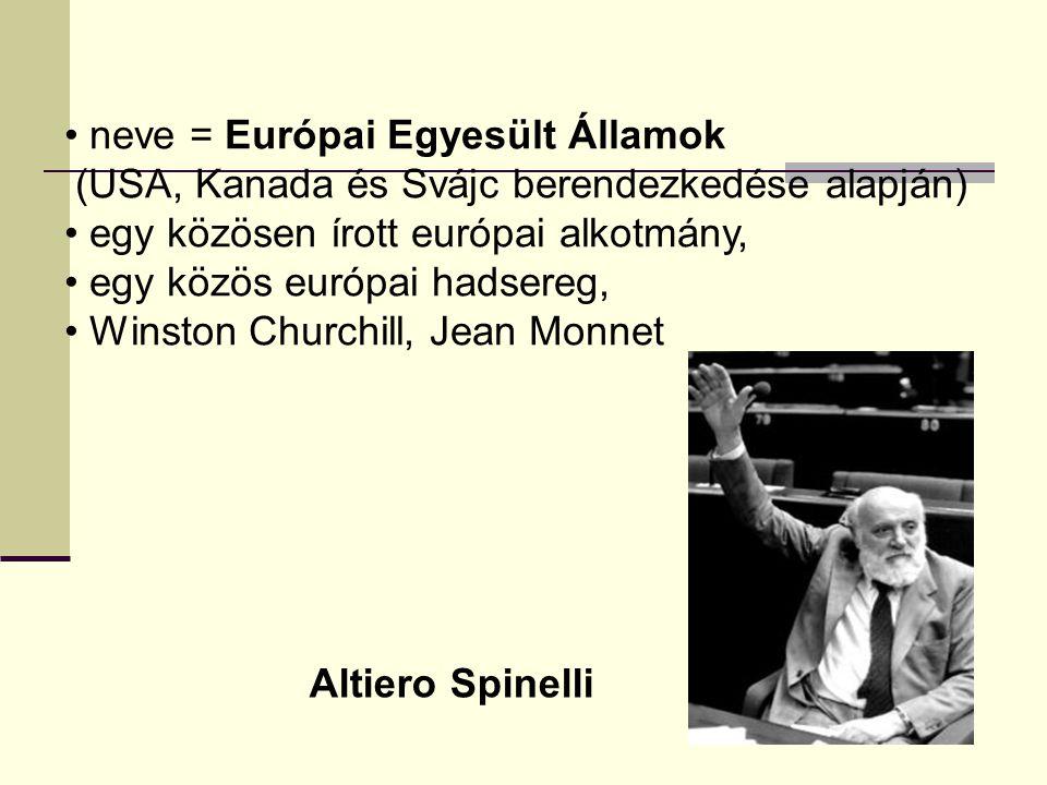 neve = Európai Egyesült Államok (USA, Kanada és Svájc berendezkedése alapján) egy közösen írott európai alkotmány, egy közös európai hadsereg, Winston Churchill, Jean Monnet Altiero Spinelli