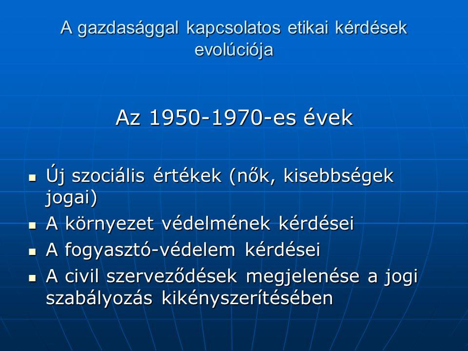 A gazdasággal kapcsolatos etikai kérdések evolúciója Az 1950-1970-es évek Új szociális értékek (nők, kisebbségek jogai) Új szociális értékek (nők, kisebbségek jogai) A környezet védelmének kérdései A környezet védelmének kérdései A fogyasztó-védelem kérdései A fogyasztó-védelem kérdései A civil szerveződések megjelenése a jogi szabályozás kikényszerítésében A civil szerveződések megjelenése a jogi szabályozás kikényszerítésében