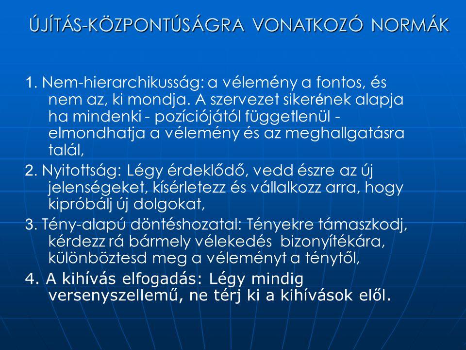 ÚJÍTÁS-KÖZPONTÚSÁGRA VONATKOZÓ NORMÁK 1.