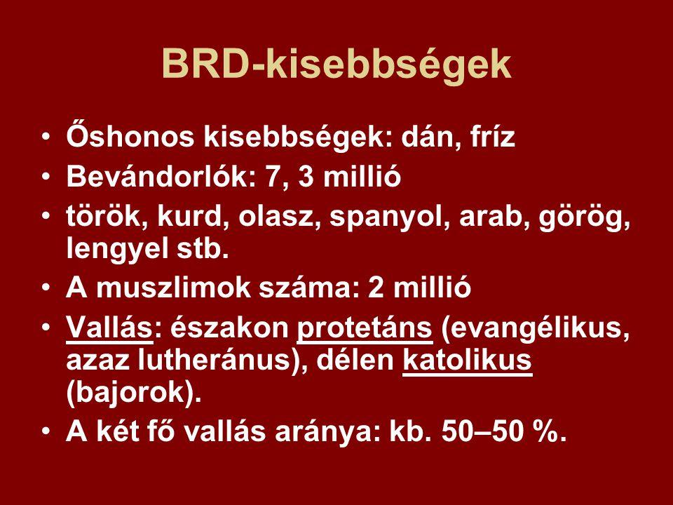 BRD-kisebbségek Őshonos kisebbségek: dán, fríz Bevándorlók: 7, 3 millió török, kurd, olasz, spanyol, arab, görög, lengyel stb. A muszlimok száma: 2 mi