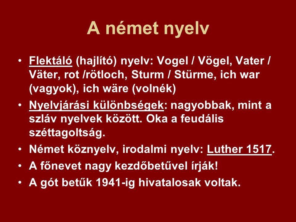A német nyelv Flektáló (hajlító) nyelv: Vogel / Vögel, Vater / Väter, rot /rötloch, Sturm / Stürme, ich war (vagyok), ich wäre (volnék) Nyelvjárási kü