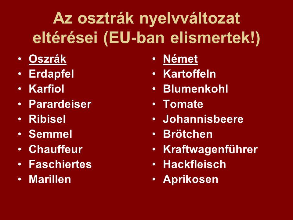 Az osztrák nyelvváltozat eltérései (EU-ban elismertek!) Oszrák Erdapfel Karfiol Parardeiser Ribisel Semmel Chauffeur Faschiertes Marillen Német Kartof