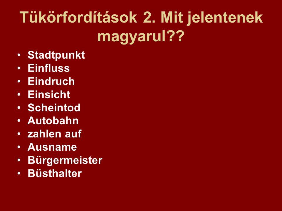 Tükörfordítások 2. Mit jelentenek magyarul?? Stadtpunkt Einfluss Eindruch Einsicht Scheintod Autobahn zahlen auf Ausname Bürgermeister Büsthalter