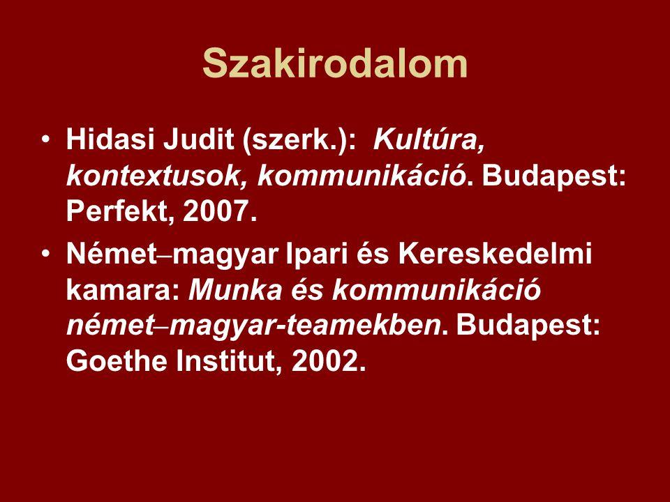 Szakirodalom Hidasi Judit (szerk.): Kultúra, kontextusok, kommunikáció. Budapest: Perfekt, 2007. Német – magyar Ipari és Kereskedelmi kamara: Munka és