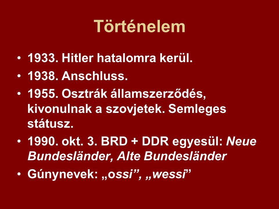 Történelem 1933. Hitler hatalomra kerül. 1938. Anschluss. 1955. Osztrák államszerződés, kivonulnak a szovjetek. Semleges státusz. 1990. okt. 3. BRD +