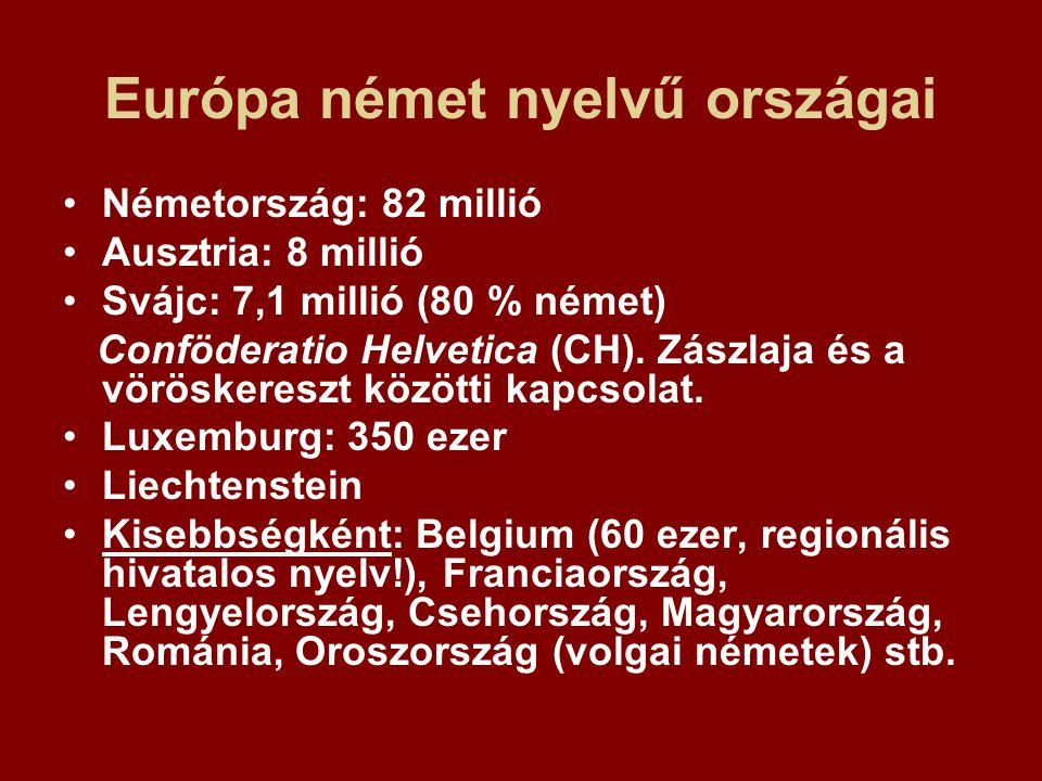 Európa német nyelvű országai Németország: 82 millió Ausztria: 8 millió Svájc: 7,1 millió (80 % német) Conföderatio Helvetica (CH). Zászlaja és a vörös