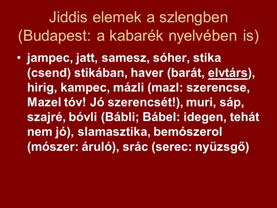 Jiddis elemek a szlengben (Budapest: a kabarék nyelvében is) jampec, jatt, samesz, sóher, stika (csend) stikában, haver (barát, elvtárs), hirig, kampe