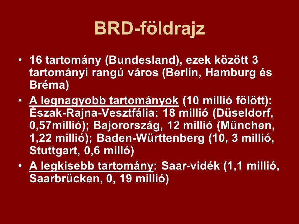 BRD-földrajz 16 tartomány (Bundesland), ezek között 3 tartományi rangú város (Berlin, Hamburg és Bréma) A legnagyobb tartományok (10 millió fölött): É