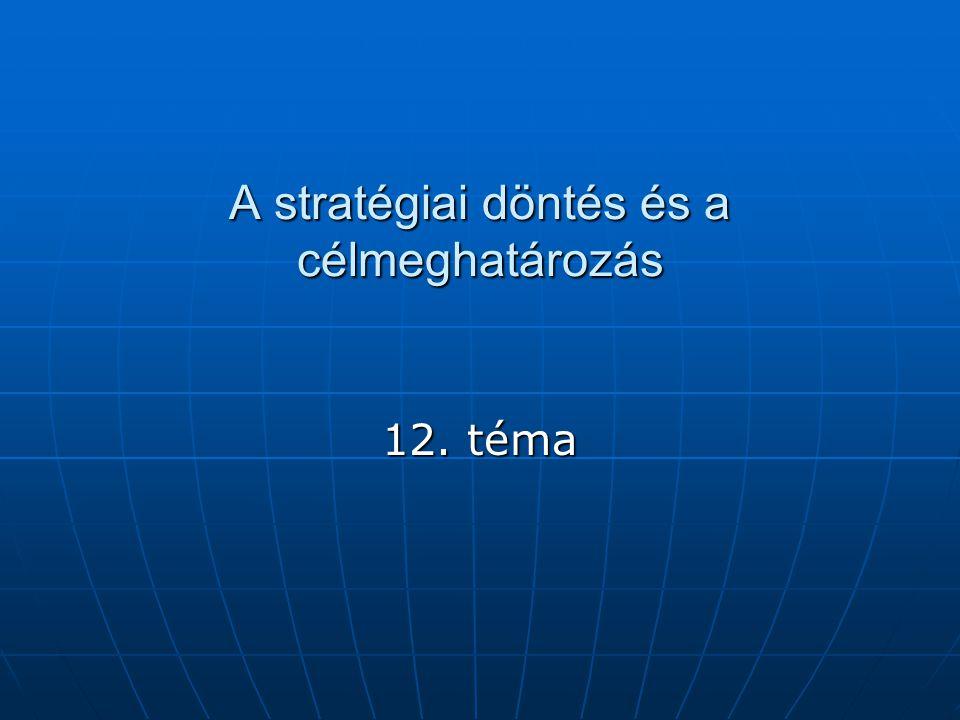 A stratégiai döntés és a célmeghatározás 12. téma