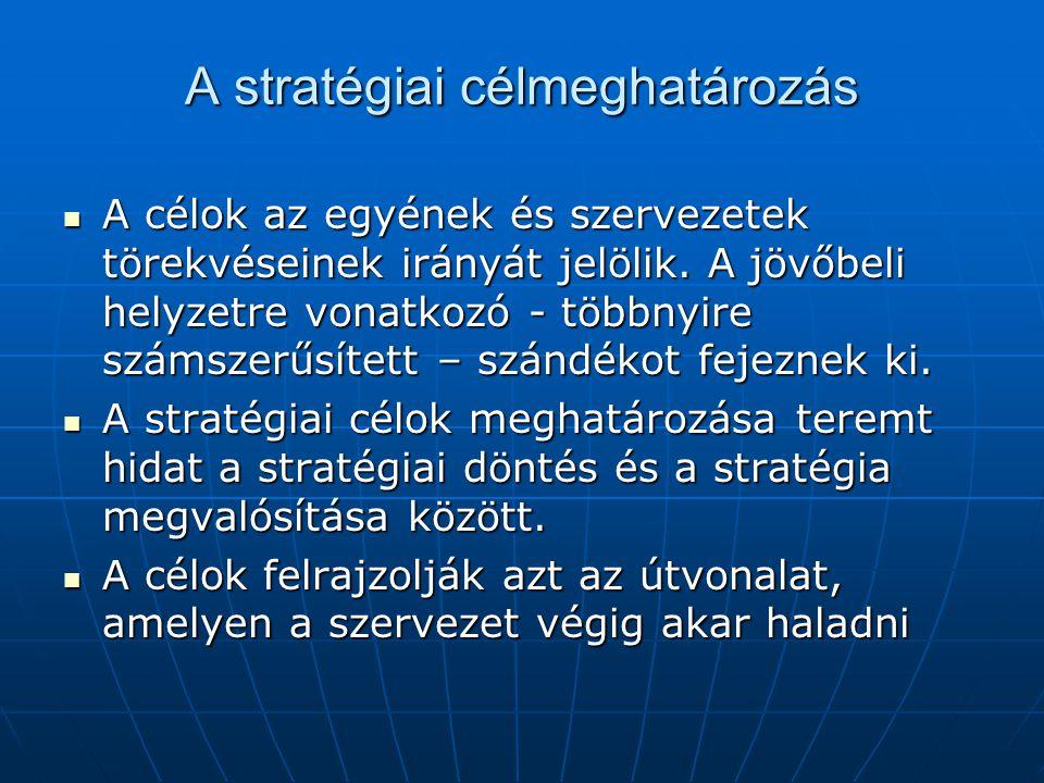 A stratégiai célmeghatározás A célok az egyének és szervezetek törekvéseinek irányát jelölik. A jövőbeli helyzetre vonatkozó - többnyire számszerűsíte
