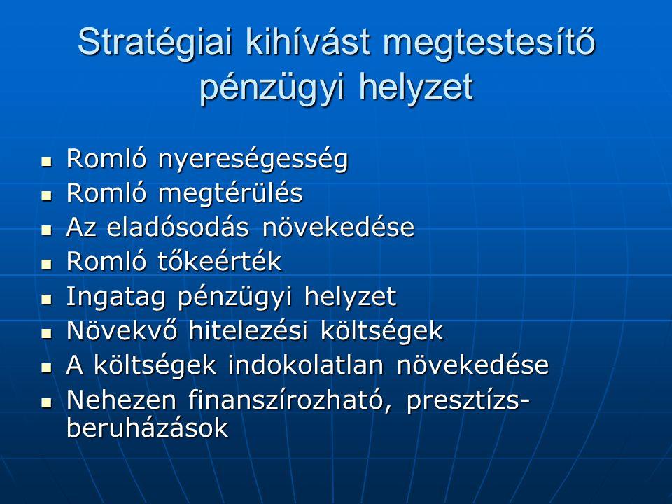Stratégiai kihívást megtestesítő pénzügyi helyzet Romló nyereségesség Romló nyereségesség Romló megtérülés Romló megtérülés Az eladósodás növekedése A