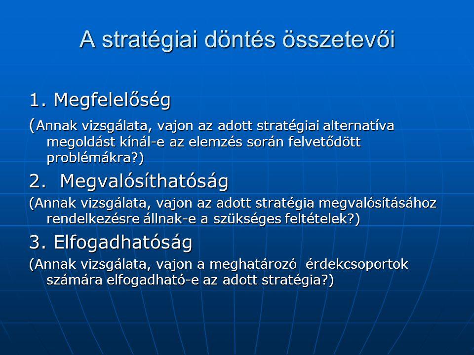 A stratégiai döntés összetevői 1. Megfelelőség ( Annak vizsgálata, vajon az adott stratégiai alternatíva megoldást kínál-e az elemzés során felvetődöt