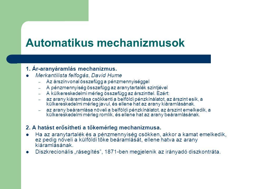 Automatikus mechanizmusok 1. Ár-aranyáramlás mechanizmus. Merkantilista felfogás, David Hume – Az árszínvonal összefügg a pénzmennyiséggel – A pénzmen