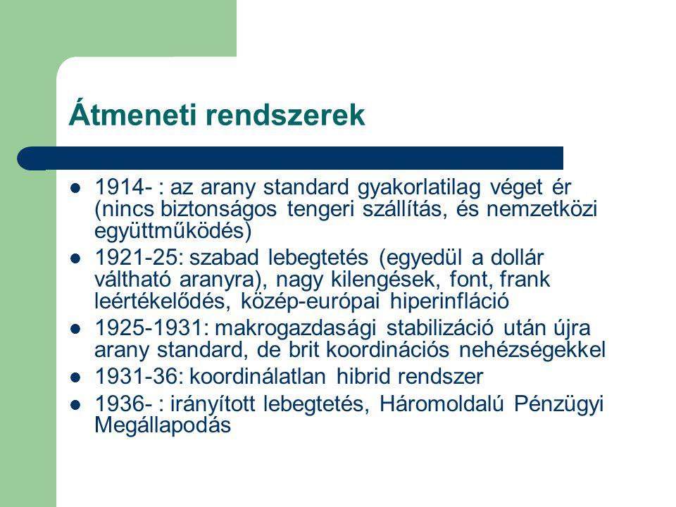 Átmeneti rendszerek 1914- : az arany standard gyakorlatilag véget ér (nincs biztonságos tengeri szállítás, és nemzetközi együttműködés) 1921-25: szabad lebegtetés (egyedül a dollár váltható aranyra), nagy kilengések, font, frank leértékelődés, közép-európai hiperinfláció 1925-1931: makrogazdasági stabilizáció után újra arany standard, de brit koordinációs nehézségekkel 1931-36: koordinálatlan hibrid rendszer 1936- : irányított lebegtetés, Háromoldalú Pénzügyi Megállapodás