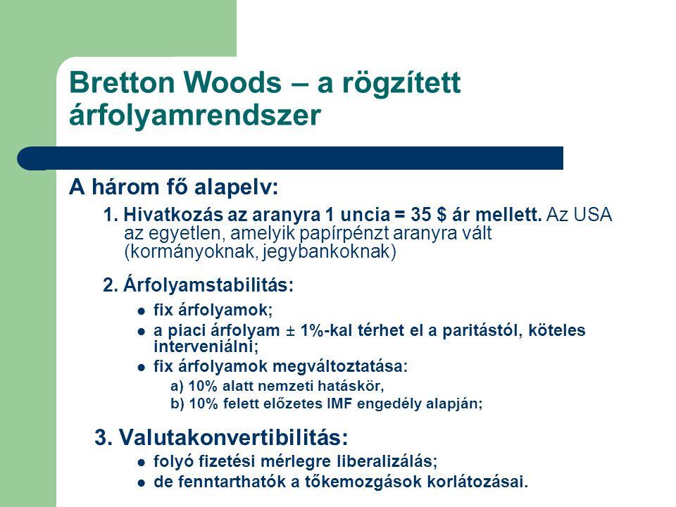 Bretton Woods – a rögzített árfolyamrendszer A három fő alapelv: 1. Hivatkozás az aranyra 1 uncia = 35 $ ár mellett. Az USA az egyetlen, amelyik papír