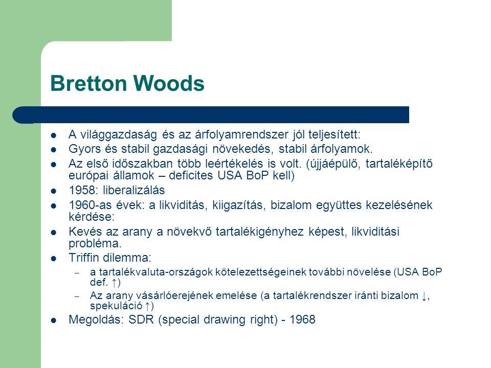 Bretton Woods A világgazdaság és az árfolyamrendszer jól teljesített: Gyors és stabil gazdasági növekedés, stabil árfolyamok. Az első időszakban több