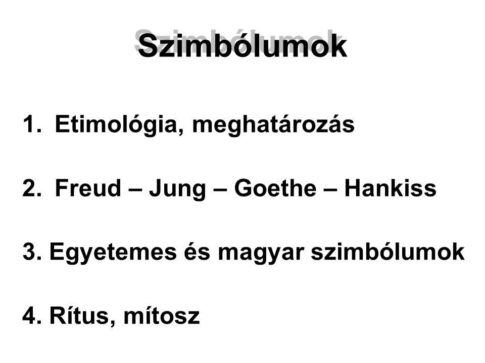 Szimbólumok 1.Etimológia, meghatározás 2.Freud – Jung – Goethe – Hankiss 3.