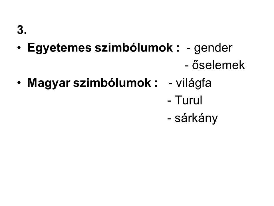 3. Egyetemes szimbólumok : - gender - őselemek Magyar szimbólumok : - világfa - Turul - sárkány