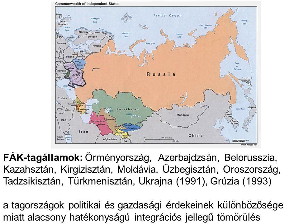 FÁK-tagállamok: Örményország, Azerbajdzsán, Belorusszia, Kazahsztán, Kirgizisztán, Moldávia, Üzbegisztán, Oroszország, Tadzsikisztán, Türkmenisztán, Ukrajna (1991), Grúzia (1993) a tagországok politikai és gazdasági érdekeinek különbözősége miatt alacsony hatékonyságú integrációs jellegű tömörülés
