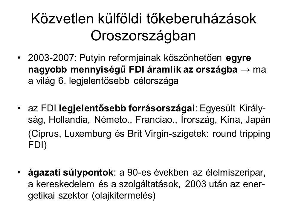 Közvetlen külföldi tőkeberuházások Oroszországban 2003-2007: Putyin reformjainak köszönhetően egyre nagyobb mennyiségű FDI áramlik az országba → ma a világ 6.