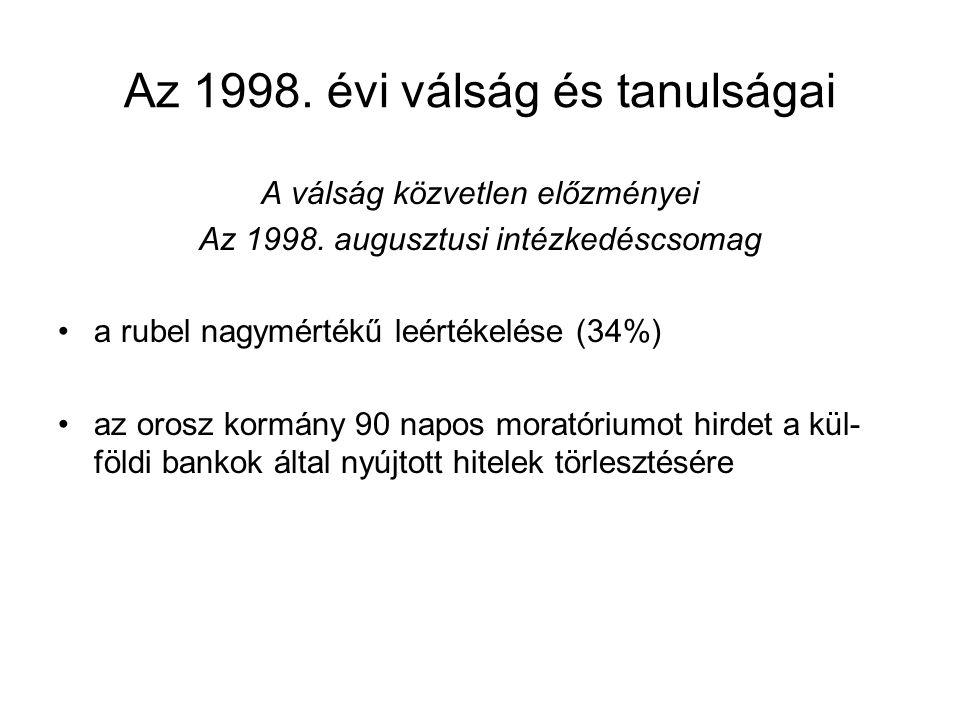 Az 1998.évi válság és tanulságai A válság közvetlen előzményei Az 1998.