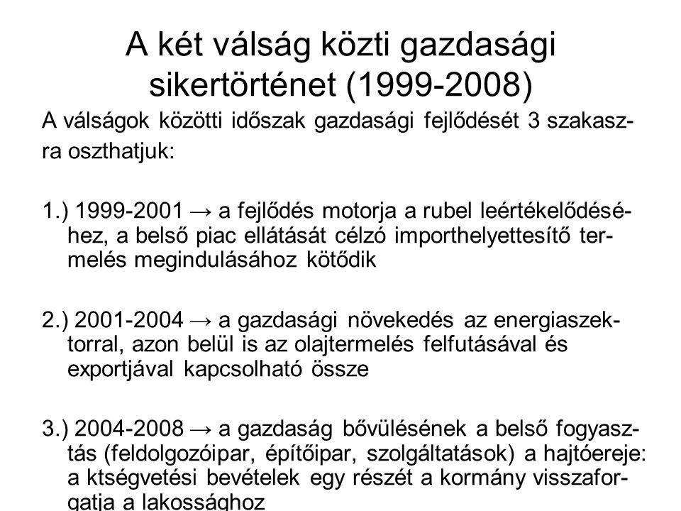 A két válság közti gazdasági sikertörténet (1999-2008) A válságok közötti időszak gazdasági fejlődését 3 szakasz- ra oszthatjuk: 1.) 1999-2001 → a fejlődés motorja a rubel leértékelődésé- hez, a belső piac ellátását célzó importhelyettesítő ter- melés megindulásához kötődik 2.) 2001-2004 → a gazdasági növekedés az energiaszek- torral, azon belül is az olajtermelés felfutásával és exportjával kapcsolható össze 3.) 2004-2008 → a gazdaság bővülésének a belső fogyasz- tás (feldolgozóipar, építőipar, szolgáltatások) a hajtóereje: a ktségvetési bevételek egy részét a kormány visszafor- gatja a lakossághoz