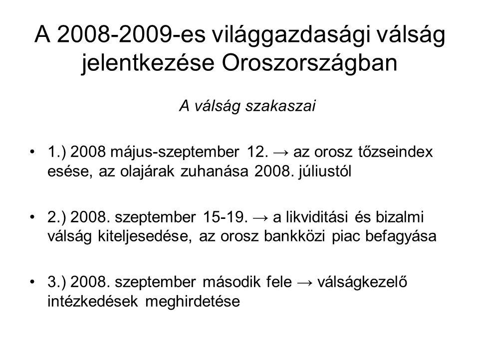A 2008-2009-es világgazdasági válság jelentkezése Oroszországban A válság szakaszai 1.) 2008 május-szeptember 12.
