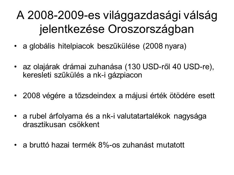 A 2008-2009-es világgazdasági válság jelentkezése Oroszországban a globális hitelpiacok beszűkülése (2008 nyara) az olajárak drámai zuhanása (130 USD-ről 40 USD-re), keresleti szűkülés a nk-i gázpiacon 2008 végére a tőzsdeindex a májusi érték ötödére esett a rubel árfolyama és a nk-i valutatartalékok nagysága drasztikusan csökkent a bruttó hazai termék 8%-os zuhanást mutatott