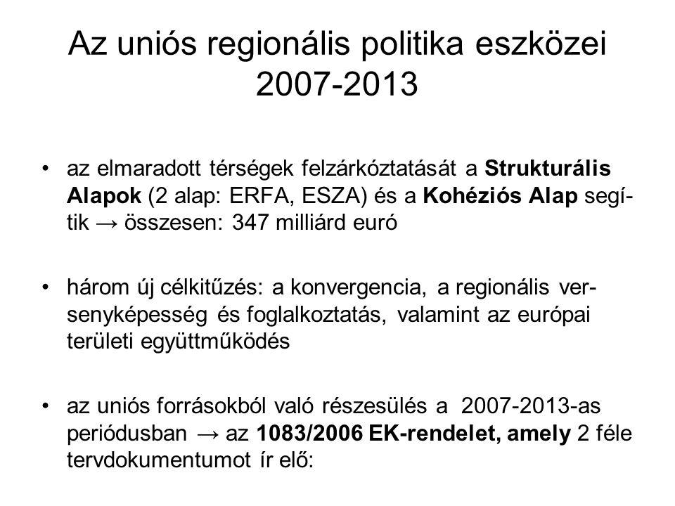 Az uniós regionális politika eszközei 2007-2013 az elmaradott térségek felzárkóztatását a Strukturális Alapok (2 alap: ERFA, ESZA) és a Kohéziós Alap