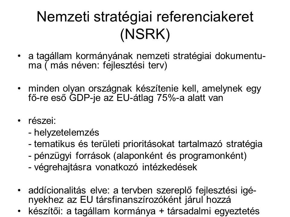 Nemzeti stratégiai referenciakeret (NSRK) a tagállam kormányának nemzeti stratégiai dokumentu- ma ( más néven: fejlesztési terv) minden olyan országna