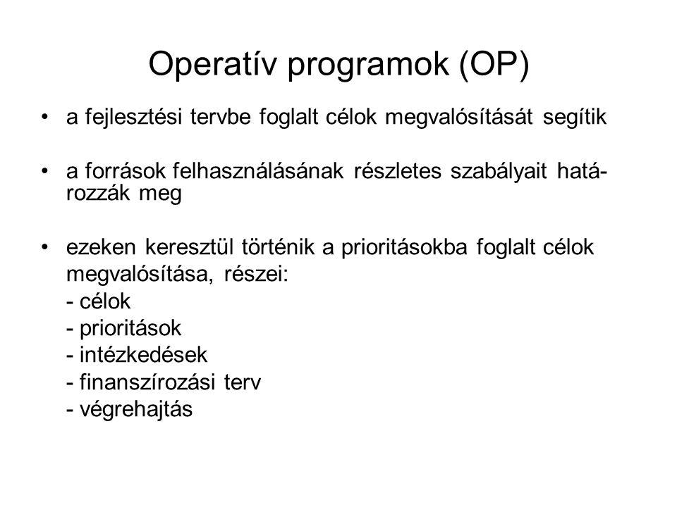 Operatív programok (OP) a fejlesztési tervbe foglalt célok megvalósítását segítik a források felhasználásának részletes szabályait hatá- rozzák meg ez