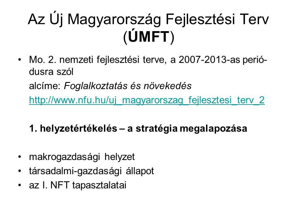 Az Új Magyarország Fejlesztési Terv (ÚMFT) Mo. 2. nemzeti fejlesztési terve, a 2007-2013-as perió- dusra szól alcíme: Foglalkoztatás és növekedés http