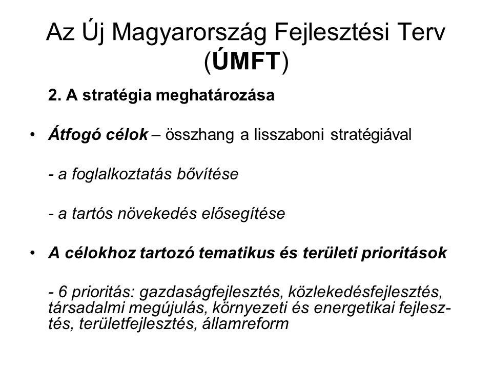 Az Új Magyarország Fejlesztési Terv (ÚMFT) 2. A stratégia meghatározása Átfogó célok – összhang a lisszaboni stratégiával - a foglalkoztatás bővítése