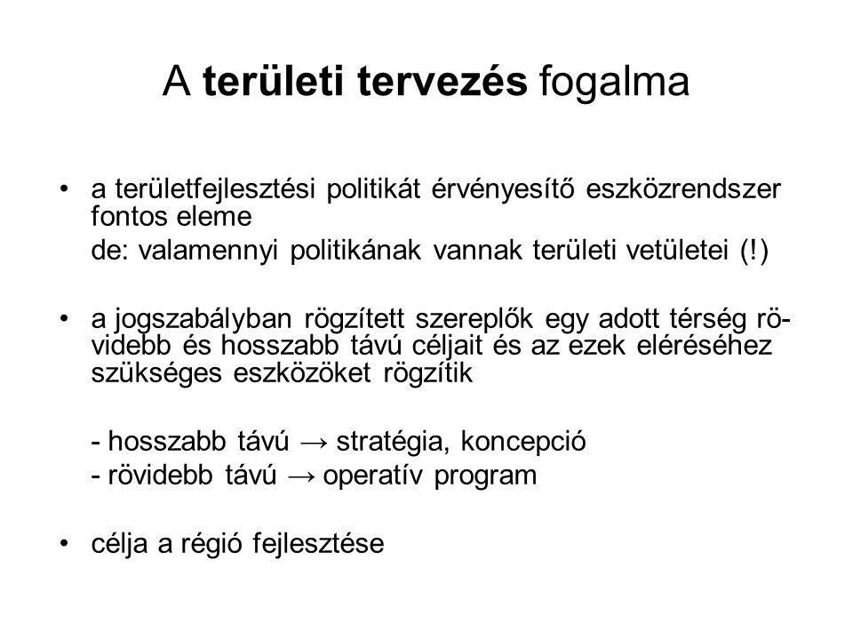 A területi tervezés fogalma a területfejlesztési politikát érvényesítő eszközrendszer fontos eleme de: valamennyi politikának vannak területi vetülete