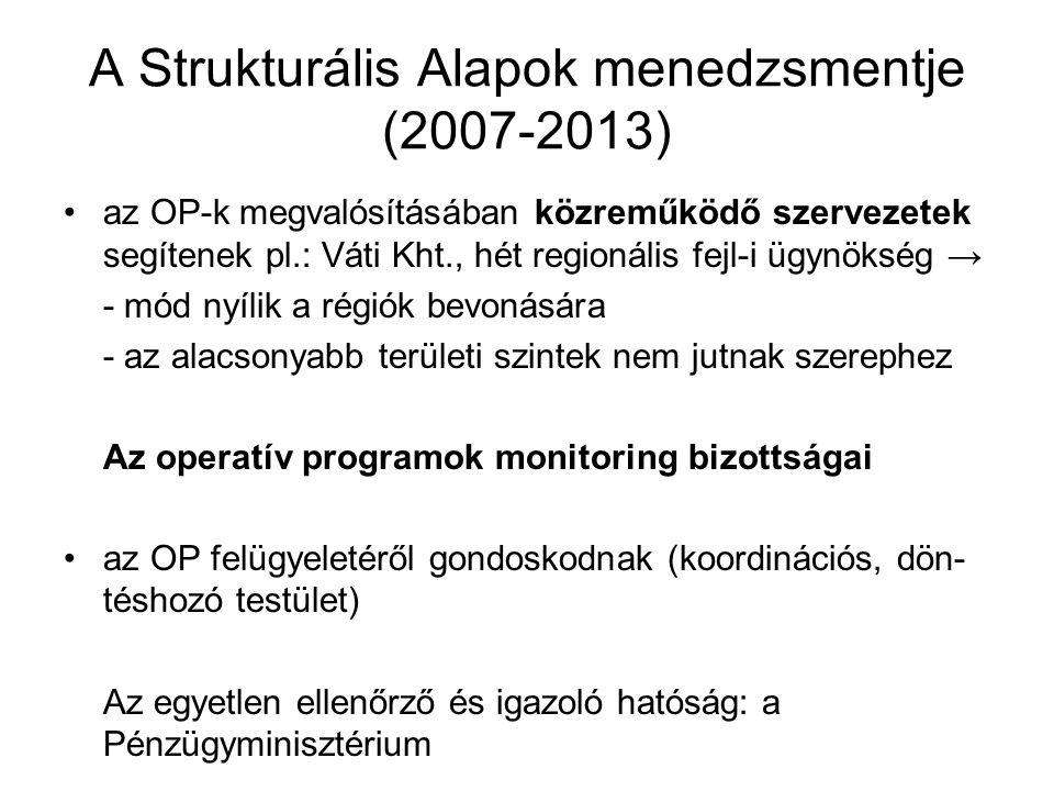 A Strukturális Alapok menedzsmentje (2007-2013) az OP-k megvalósításában közreműködő szervezetek segítenek pl.: Váti Kht., hét regionális fejl-i ügynö