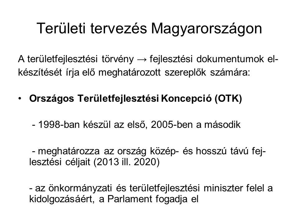 Területi tervezés Magyarországon A területfejlesztési törvény → fejlesztési dokumentumok el- készítését írja elő meghatározott szereplők számára: Orsz