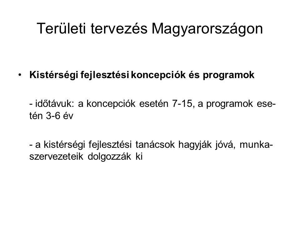 Területi tervezés Magyarországon Kistérségi fejlesztési koncepciók és programok - időtávuk: a koncepciók esetén 7-15, a programok ese- tén 3-6 év - a